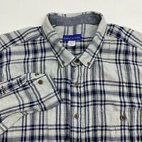 Simply Styled Button Up Shirt Mens XXL Gray Plaid Long Sleeve Casual Flannel
