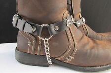 Men Cowboy Star Pair Boot Chain Silver Black Leather Strap Shoe Bracelet Biker