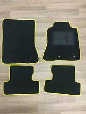 Car Floor Mats Custom Made Front & Rear w/Yellow Edging - Ford Mustang: 2015-ON