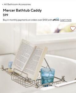 """Pottery Barn Mercer Bathtub Caddy Polished Nickel Finish 23.5x 7.5"""""""