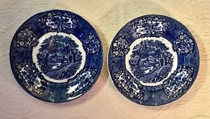 Pair Staffordshire Transferware Plates ORIENTAL Flow Blue Thomas Fell 1817-1830