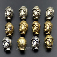 Fashion Solid Metal Buddha Head Bracelet Necklace Connector Charm Beads Silver