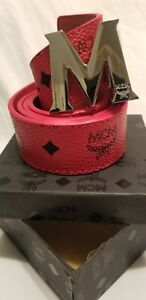 MCM Belt-Red with Silver Buckle