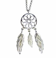Pendant Dream Catcher 3 Feather Necklace Solid 925 Sterling Silver with