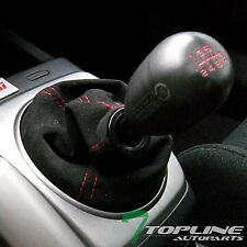 Topline For Honda MT/AT Shifter Shift Boot Gear Cover - Black Suede w/Red Stitch