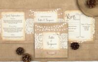 Rustic Wedding Invitation - Lace Double-Folded