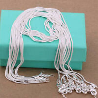 10Pcs wholesale 925 Plated Silver 1MM 16-28 Inches Snake Chain Necklace Gift
