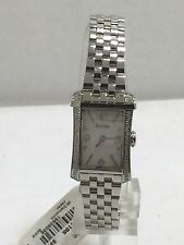 Women's Bulova 96R186 Stainless Steel White Dial Diamond Accented Watch