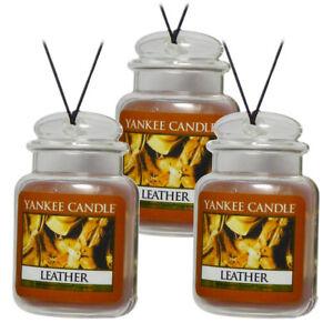 Yankee Candle Gel Car Jar Ultimate Odor Neutralizing Air Freshener, Leather 3-PK