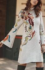 Anthropologie Knitted & Knotted embroidered petals swing  dress womens S NWT