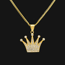 NEW  Biker Necklace Gold Plated Full CZ Crown Bling Bling Pendant Cuban Chain