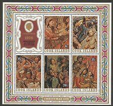 Cook Islands 1976 BL 60 ** Noël Sculptures religieuses Renaissance Bœuf Âne