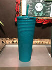 Starbucks Mexico 2021 Fall Teal Grid 24oz Cold Cup