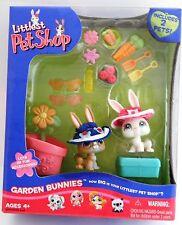 Littlest Pet Shop Garden Bunnies with white & tan bunnies, carrots, trowels, +