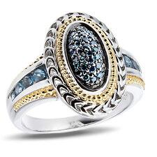 Carribean Blue Ladies Genuine Diamond Cluster Ring in Sterling Silver