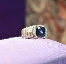 Vintage 925 sterling silver big men's sapphire diamond ring sz 10.5