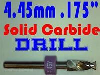 ".175"" 4.45mm  -Solid Carbide Drill Bit - 1/8"" Shank -Sharp! CNC Hobby Model -lu"