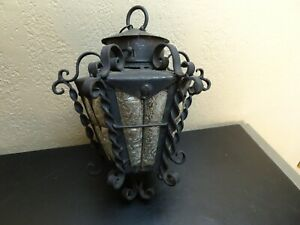 VTG Wrought Iron Spanish Revival Gothic Bubble Crackle Glass Hanging Lantern