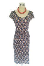 LEONA EDMISTON Dress - Leaf Print Blue Black Vintage Stretch Cap Sleeve Wrap - 8