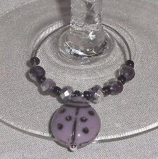 Porcelain Lavender LADYBUG & Crystals Napkin Beverage Wine Glass Charms