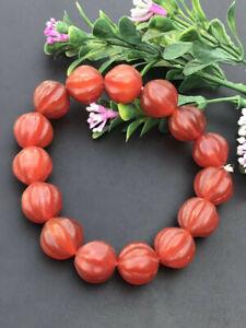 Old Red Agate Melon Rib Pumpkin Bead Bracelet