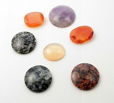 Antique Polished Stone Pieces – Carnelian, Granite, Amethyst