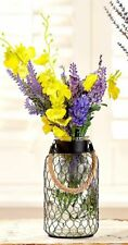 RUSTIC CHICKEN WIRE SMALL GLASS VASE INDOOR COUNTRY KITCHEN HOME DECOR GIFT