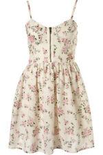 Topshop Peach Broderie Anglais Floral Corset Prom Mini Dress UK 12 40 Festival
