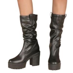 Women's Punk Chunky High Heels Gothic Mid Calf Platform Western Fashion Boots