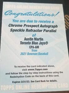 2021 Bowman Chrome Austin Martin Speckle Refractor Auto /299