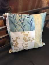 Vintage Designer Fabric Hand-Sewn Accent Pillow in Soothing Sea Blues with Gold-