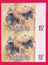 1965 MALAYSIA/ MALAYA/ SINGAPORE BUTTERFLIES  IMPERF FLOWERS PROOF PAIR SCARCE