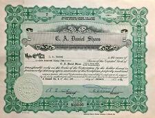 C A Daniel Shoes > Elizabeth City North Carolina shoe company stock certificate
