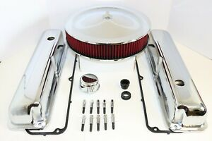 Ford FE Chrome Engine Dress Up Kit Tall Valve Covers Washable Air Cleaner 390