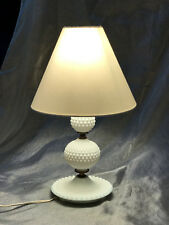 Vintage Hobnail Milk Glass Table Lamp with Recent Fabric Shade, WORKS, Nice!
