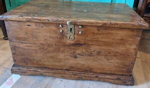 Old Antique Pine Chest, Vintage Wooden Storage Trunk, Blanket Box candle box