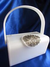 VINTAGE WILARDY PURE WHITE LUCITE PURSE WITH SILVER FILIGREE ! CLASSIC
