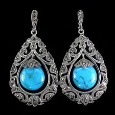 Pear Blue Turquoise 19x16mm Marcasite 925 Sterling Silver Earrings