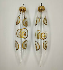 "Christmas Tree Ornaments 2pcs. ""Icicles Transparent Golden"" vintage Decor USSR"