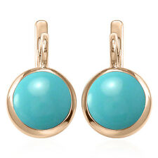 Russian Style Earrings 6.0 Gr. 14k Solid Rose Gold and 12mm Turquoise #E1305