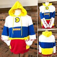 PAC-MAN Bandai-Namco Licensed Retro Hoodie Color-Block Hooded Sweatshirt ~ NWT
