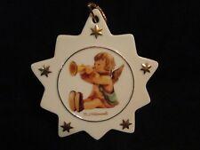 Vintage Hummel Porcelain Star Tree Ornament Angel Sitting w/ Horn- new w/ COA