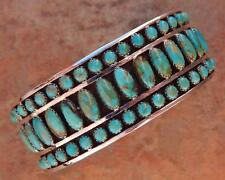 Navajo Sterling Silver King's Manassa Turquoise Cuff Bracelet