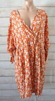 ASOS Fit Flare Dress Size 20 Orange Brown White Blue Floral Tie Sleeves