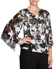ALEX EVENINGS® XL Black & White Asymmetrical Burnout Floral Blouse NWT $119