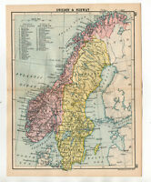 Map Of Sweden & Norway Antique John Bartholomew