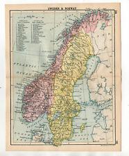 Map Of Sweden & Norway Antique John Bartholomew