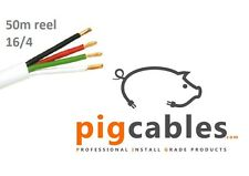16/4 Speaker cable 16AWG 4 Core White 50m Professional Install Grade OFC, LSOH