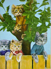 Harry Whittier Frees Cute Kittens on the FENCE and in a TREE 1958 Print Matted
