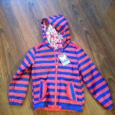 7bc620454 John Lewis Girl Bright Stripe Hooded Bomber Coat Jacket Orange/red & Blue